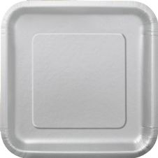 "16 Silver Paper Party Plates 7""/18cm Square"